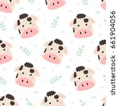 cute cow seamless pattern.... | Shutterstock .eps vector #661904056