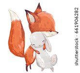 Stock photo cute watercolor fox and hare on white background 661906282