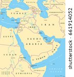 middle east political map with... | Shutterstock .eps vector #661914052