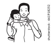 son hugging his dad around neck ... | Shutterstock .eps vector #661918252
