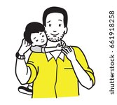 son hugging his dad around neck ... | Shutterstock .eps vector #661918258