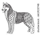 siberian husky dog zentangle...   Shutterstock .eps vector #661923748
