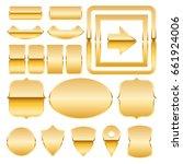 set of gold metal plates.... | Shutterstock .eps vector #661924006