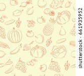 vegetables and fruit  doodles ... | Shutterstock .eps vector #661935952