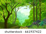 a live beautiful green jungle... | Shutterstock .eps vector #661937422