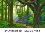the path across a dense jungle... | Shutterstock .eps vector #661937455