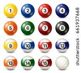 billiard pool balls collection. ... | Shutterstock .eps vector #661937668