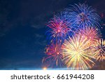 fireworks of various colors... | Shutterstock . vector #661944208