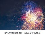 beautiful colorful fireworks on ... | Shutterstock . vector #661944268