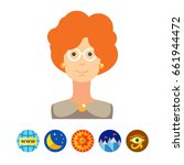 portrait of adult woman wearing ... | Shutterstock .eps vector #661944472