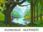 a stream of river flowing... | Shutterstock .eps vector #661944655