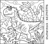 cartoon funny tyrannosaurus ... | Shutterstock .eps vector #661945996