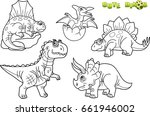 cartoon funny dinosaurs  set of ... | Shutterstock .eps vector #661946002