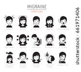 migraine symptoms icons set ... | Shutterstock .eps vector #661971406