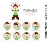 young man with migraine... | Shutterstock .eps vector #661971415