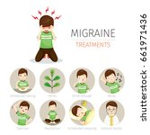 young man with migraine... | Shutterstock .eps vector #661971436