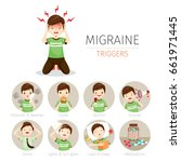 young man with migraine... | Shutterstock .eps vector #661971445