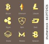 popular cripto currency logo ... | Shutterstock .eps vector #661972426
