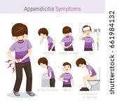 man with appendicitis symptoms  ...   Shutterstock .eps vector #661984132