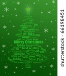 Christmas tree made of Christmas words on green and snowflakes - vector illustration - stock vector