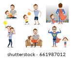father and son or daughter set. ... | Shutterstock .eps vector #661987012
