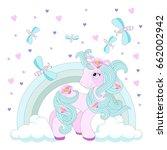 cute unicorn on a rainbow on a... | Shutterstock .eps vector #662002942