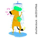 bathing dog. cute dog takes a... | Shutterstock .eps vector #662014966