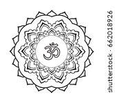 mandala frame with om symbol.... | Shutterstock .eps vector #662018926
