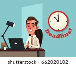 unhappy busy sad office worker... | Shutterstock .eps vector #662020102