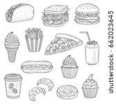 vector set of fast food hand... | Shutterstock .eps vector #662023645
