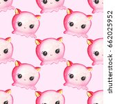 seamless pattern with cute... | Shutterstock . vector #662025952