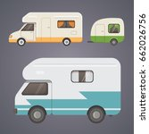 retro camper trailer collection.... | Shutterstock .eps vector #662026756