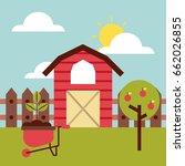 big farm flat | Shutterstock .eps vector #662026855