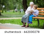 young boy and great grandmother ... | Shutterstock . vector #662030278