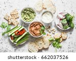 vegetarian dip table. eggplant  ... | Shutterstock . vector #662037526