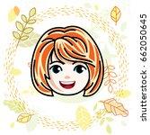 cute girls face  human head.... | Shutterstock .eps vector #662050645