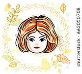 girls face  human head. vector... | Shutterstock .eps vector #662050708