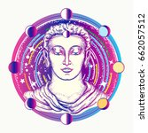 buddha tattoo art. space god... | Shutterstock .eps vector #662057512