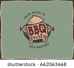 bbq party typography poster... | Shutterstock . vector #662063668