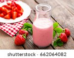 strawberry yogurt with fresh... | Shutterstock . vector #662064082