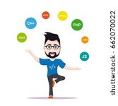 picture of a smart programmer... | Shutterstock .eps vector #662070022