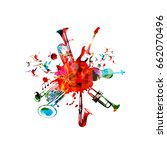 music poster with music... | Shutterstock .eps vector #662070496