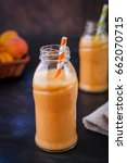 fresh homemade apricot smoothie | Shutterstock . vector #662070715