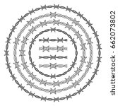 barbed wire rings vector set  | Shutterstock .eps vector #662073802