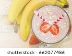 milkshake with banana ... | Shutterstock . vector #662077486