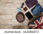 travel accessories top view... | Shutterstock . vector #662086072