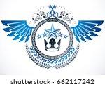 winged classy emblem  vector... | Shutterstock .eps vector #662117242