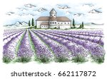 lavender field summer sunset... | Shutterstock .eps vector #662117872
