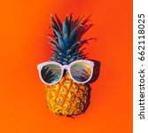 tropical style. pineapple in... | Shutterstock . vector #662118025