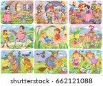 set of fairy tale illustrations.... | Shutterstock . vector #662121088
